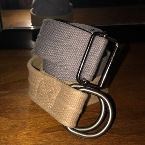 Two Canvas belts, gray and tan.